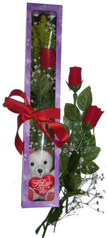 Artvin internetten çiçek siparişi  3 adet canli gül ve oyuncak ayicik