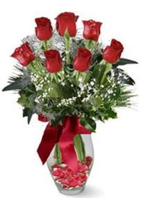 Artvin internetten çiçek siparişi  7 adet kirmizi gül cam vazo yada mika vazoda