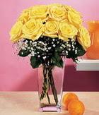 Artvin internetten çiçek satışı  9 adet sari güllerden cam yada mika vazo