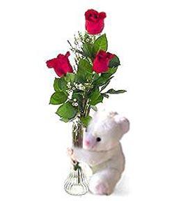 oyuncak ve 3 adet gül  Artvin çiçek siparişi sitesi