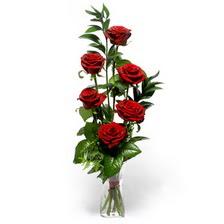 Artvin uluslararası çiçek gönderme  mika yada cam vazoda 6 adet essiz gül