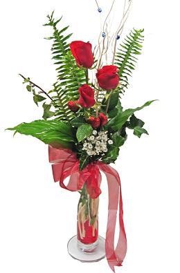 Çiçek gönderin cam vazoda 3 gül çiçekleri  Artvin çiçek siparişi sitesi