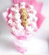 17 adet pelus ayicik buketi  Artvin İnternetten çiçek siparişi