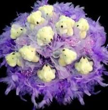 11 adet pelus ayicik buketi  Artvin çiçek , çiçekçi , çiçekçilik