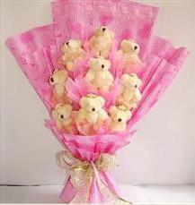 9 adet pelus ayicik buketi  Artvin anneler günü çiçek yolla