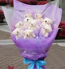 11 adet pelus ayicik buketi  Artvin ucuz çiçek gönder