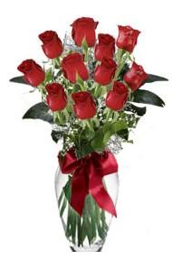 11 adet kirmizi gül vazo mika vazo içinde  Artvin 14 şubat sevgililer günü çiçek