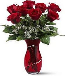 Vazo içinde 8 adet kirmizilar içinde güller  Artvin internetten çiçek siparişi