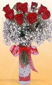 9 adet kirmizi gül cam yada mika vazoda  Artvin çiçek mağazası , çiçekçi adresleri