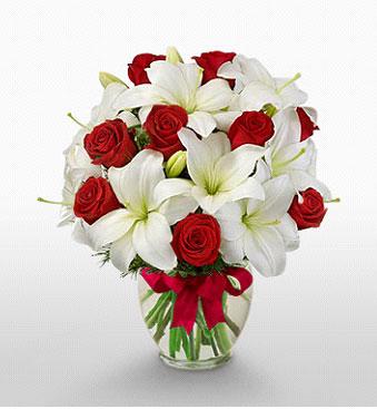 Artvin hediye çiçek yolla  1 dal kazablanka 11 adet kırmızı gül vazosu