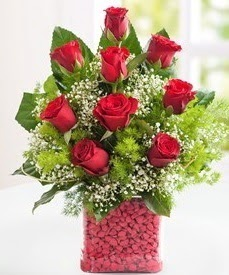 Cam içerisinde 9 adet kırmızı gül  Artvin internetten çiçek satışı