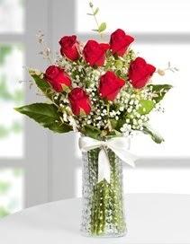 Cam vazoda 7 adet kırmızı gül  Artvin çiçek , çiçekçi , çiçekçilik