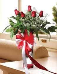 Camda 5 kırmızı gül tanzimi  Artvin çiçekçi telefonları