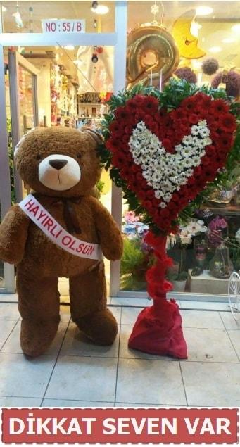 1.5 Metre peluş ayı ve Kalp  Artvin çiçek gönderme sitemiz güvenlidir