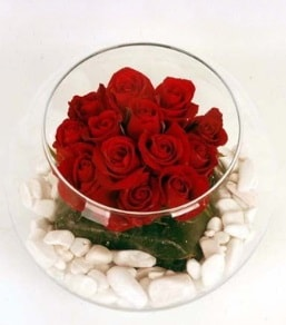 Cam fanusta 11 adet kırmızı gül  Artvin çiçek gönderme