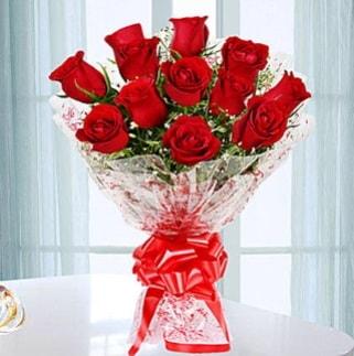 11 adet kırmızı gülden görsel şık buket  Artvin ucuz çiçek gönder