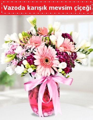 Vazoda karışık mevsim çiçeği  Artvin çiçek , çiçekçi , çiçekçilik