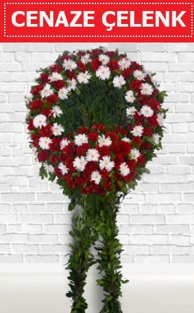 Kırmızı Beyaz Çelenk Cenaze çiçeği  Artvin İnternetten çiçek siparişi