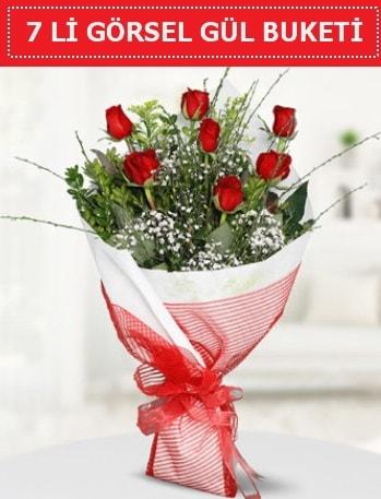 7 adet kırmızı gül buketi Aşk budur  Artvin çiçek satışı