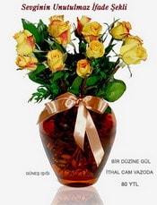Artvin internetten çiçek satışı  mika yada Cam vazoda 12 adet sari gül